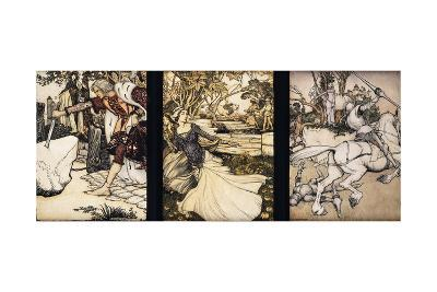 Illustrations to the Morte d'Arthur: Sir Galahad Draws the Sword of Balin from the Floating Stone;…-Arthur Rackham-Giclee Print