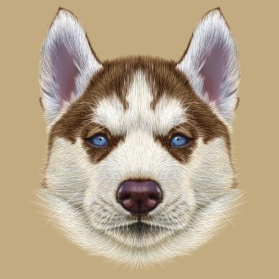 Illustrative Portrait of Husky Puppy. Cute Portrait of Young Copper Red Bi-Colour Dog with Pale Blu-ant_art19-Art Print