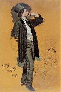 A Study for 'A Parisian Cafe' (1875): Gentleman Standing and Jean-Leon Gerome (1824-1904) by Ilya Efimovich Repin