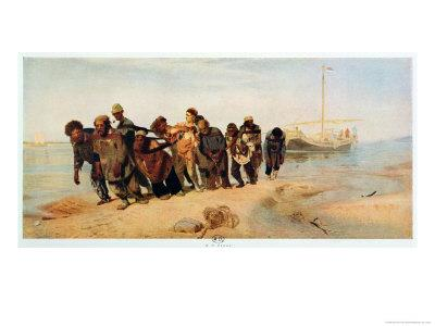 Convicts Pulling a Boat Along the Volga River, Russia, 1873