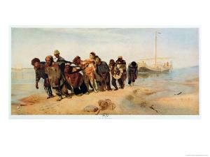 Convicts Pulling a Boat Along the Volga River, Russia, 1873 by Ilya Efimovich Repin