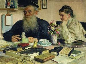 Leo Tolstoy with His Wife in Yasnaya Polyana, 1907 by Ilya Efimovich Repin