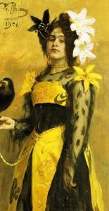 Portrait of a Lady in a Yellow and Black Gown Adorned with Lilies Holding a Black Bird, 1901 by Ilya Efimovich Repin