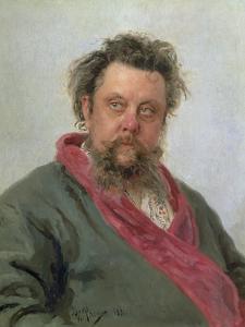 Portrait of Modest Petrovich Moussorgsky (1839-81) 1881 by Ilya Efimovich Repin
