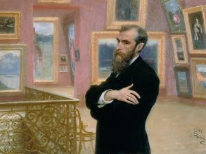 Portrait of Pavel Tretyakov (1832-98) in the Gallery, 1901 by Ilya Efimovich Repin