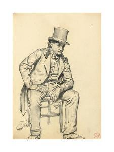 Seated Man, Arm Leaning on His Leg, C. 1872-1875 by Ilya Efimovich Repin