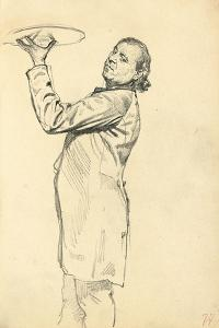 Study for 'A Parisian Cafe': a Waiter Holding Up a Tray, C. 1872-1875 by Ilya Efimovich Repin