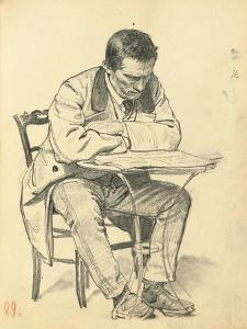 Study for 'A Parisian Cafe': Man Seated at a Cafe Table, Reading a Newspaper, C. 1872-1875 by Ilya Efimovich Repin