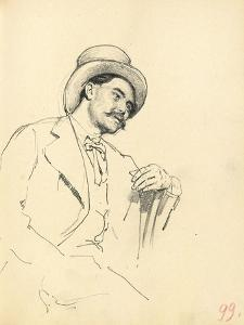 Study for 'A Parisian Cafe': Seated Man with Hat, C. 1872-1875 by Ilya Efimovich Repin