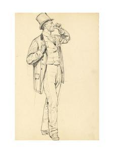 Study for 'A Parisian Cafe': Standing Man with Raised Arm, C. 1872-1875 by Ilya Efimovich Repin