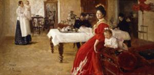 The Artist's Daughter, Tat'iana and Her Family in an Interior by Ilya Efimovich Repin