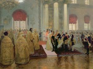 The Marriage of Tsar Nicholas II (1868-1918) and Alexandra Feodorovna (1872-1918) 1894 by Ilya Efimovich Repin