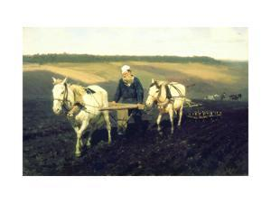 The Writer Lev Nikolaevich Tolstoy Ploughing with Horses, 1889 by Ilya Efimovich Repin