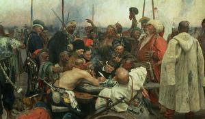 The Zaporozhye Cossacks Writing a Letter to the Turkish Sultan, 1890-91 by Ilya Efimovich Repin