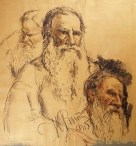 Three Studies of Leo Tolstoy (1828-1910) by Ilya Efimovich Repin