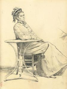 Woman Seated at a Cafe Table, C. 1872-1875 by Ilya Efimovich Repin