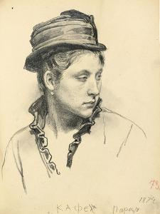 Woman with Hat, Head Turned to the Side, 1874 by Ilya Efimovich Repin