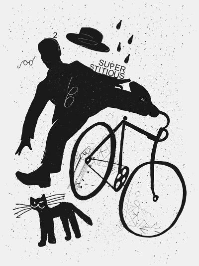 Image of a Cyclist Who Was Scared of a Black Cat. Translated from Chinese - Stop Prejudices-Dmitriip-Art Print