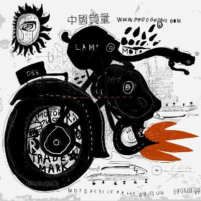 Image of motorcycle, which is made in the style of graffiti-Dmitriip-Art Print