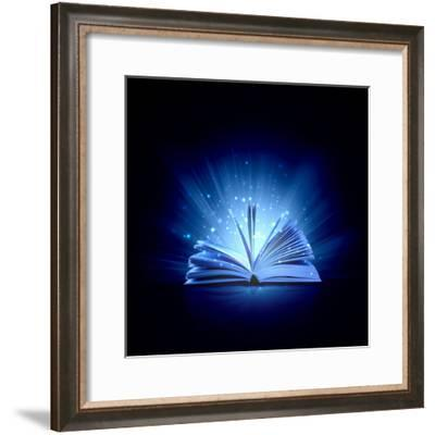 Image of Opened Magic Book with Magic Lights-Sergey Nivens-Framed Photographic Print