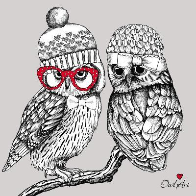 Image of Two Owls in Knitted Hats, Glasses on a Branch. Vector Illustration.- Afishka-Art Print