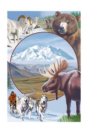 Image Only - Wildlife Montage Scenes-Lantern Press-Art Print