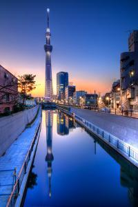 Tokyo Sky Tree Sunset Reflection by Image Provided by Duane Walker