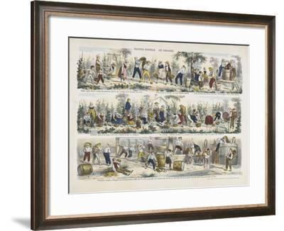 Imagerie nouvelle. Les vendanges--Framed Giclee Print