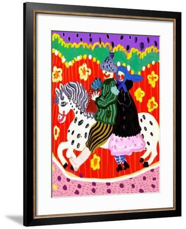 Images of Men and Women Who Ride on a White Horse-Dmitriip-Framed Art Print