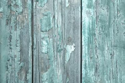 Turquoise or Mint Green Wooden Old Patterned Background in Vintage Style. by Imagesbavaria
