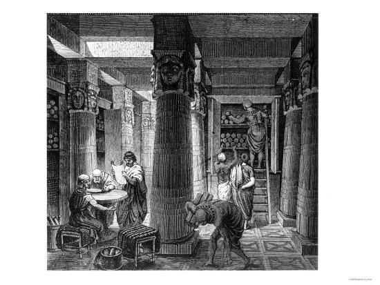 Imaginary Recreation of Ptolemy Library in Alexandria, Egypt, from Histoire Generale Des Peuples--Giclee Print