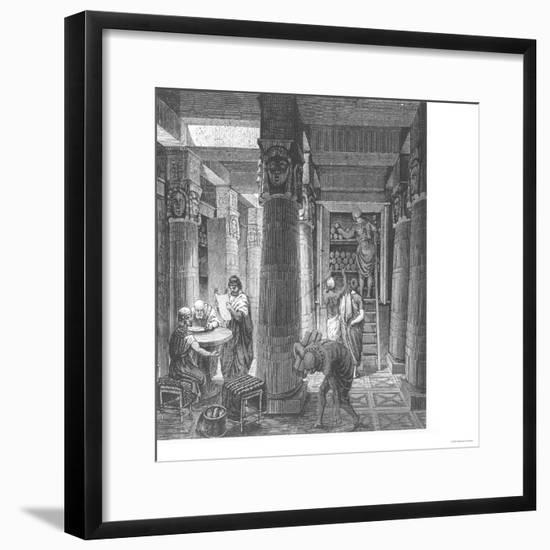 Imaginary Recreation of Ptolemy Library in Alexandria, Egypt, from Histoire Generale Des Peuples--Framed Giclee Print