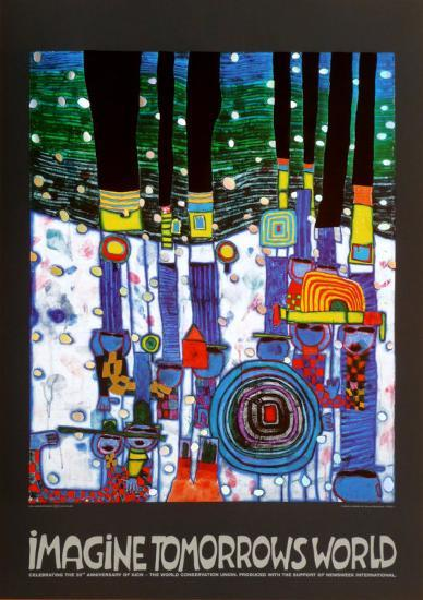 Imagine Tomorrows World (blue)-Friedensreich Hundertwasser-Art Print