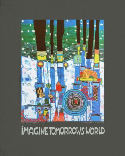 Imagine Tomorrows World (blue)-Friedensreich Hundertwasser-Art Print
