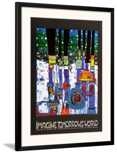 Imagine Tomorrows World (blue)-Friedensreich Hundertwasser-Framed Art Print