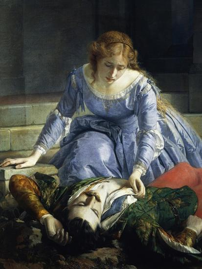 Imelda De Lambertazzi by Her Lover's Corpse, 1864-Pacifico Buzio-Giclee Print