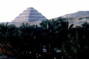 Step Pyramid of King Djoser Behind the Niles Flood Plain, Saqqara, Egypt, 3rd Dynasty, C2600 Bc by Imhotep