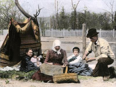 Immigrant Family Cutting Seed Potatoes to Plant on Their Quarter-Acre in Michigan, 1890s--Giclee Print