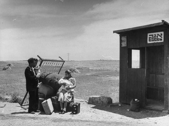 Immigrants Waiting for the Bus on Tel-Aviv Hafa--Photographic Print