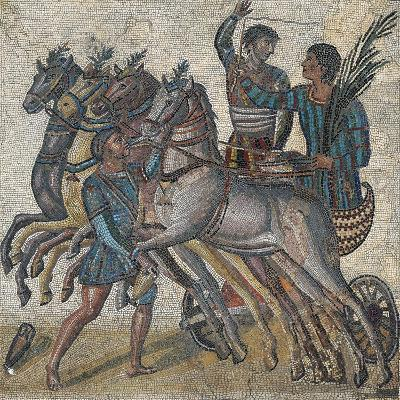 Imperial-Age Mosaic Depicting Chariot Race, 3rd Century--Giclee Print