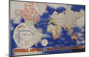 Imperial Airways Travel Poster, a Route Map of the Empire and European Air Routes