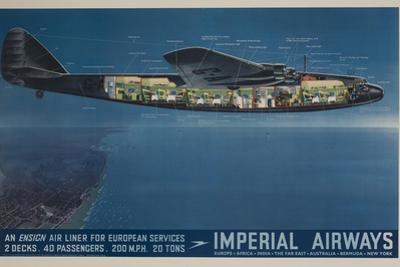 Imperial Airways Travel Poster, Ensign Air Liner Cutaway