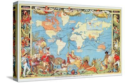 Imperial Federation Showing the Map of the World, British Empire, by Captain JC Colombo, C.1886--Stretched Canvas Print