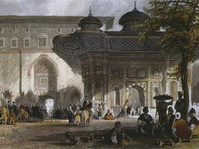 Imperial Gate of Topkapi Palace and Fountain of Sultan Ahmed III, Istanbul, 1839-Thomas Allom-Giclee Print