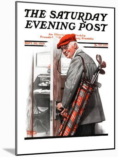 """""""Important Business"""" Saturday Evening Post Cover, September 20,1919-Norman Rockwell-Mounted Premium Giclee Print"""