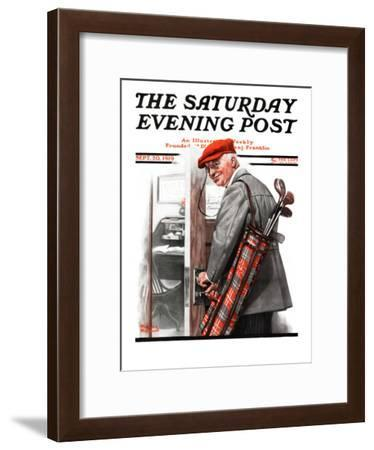 """""""Important Business"""" Saturday Evening Post Cover, September 20,1919-Norman Rockwell-Framed Giclee Print"""