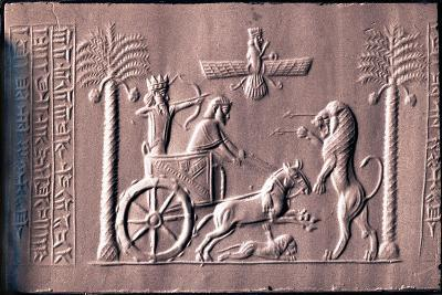 Impression of a Cylinder Seal Depicting the Great King Darius in a Chariot Hunting Lions--Giclee Print