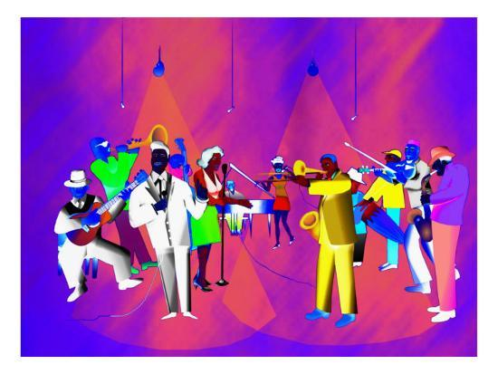 Impressionist Ethnic Big Band Performing on Golden Stage-Rich LaPenna-Giclee Print