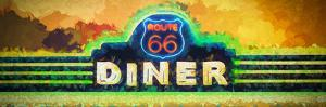 Impressionistic painting of a fictional Route 66 Diner sign