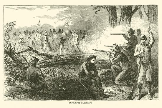 Impromptu Barricade, July 1863--Giclee Print